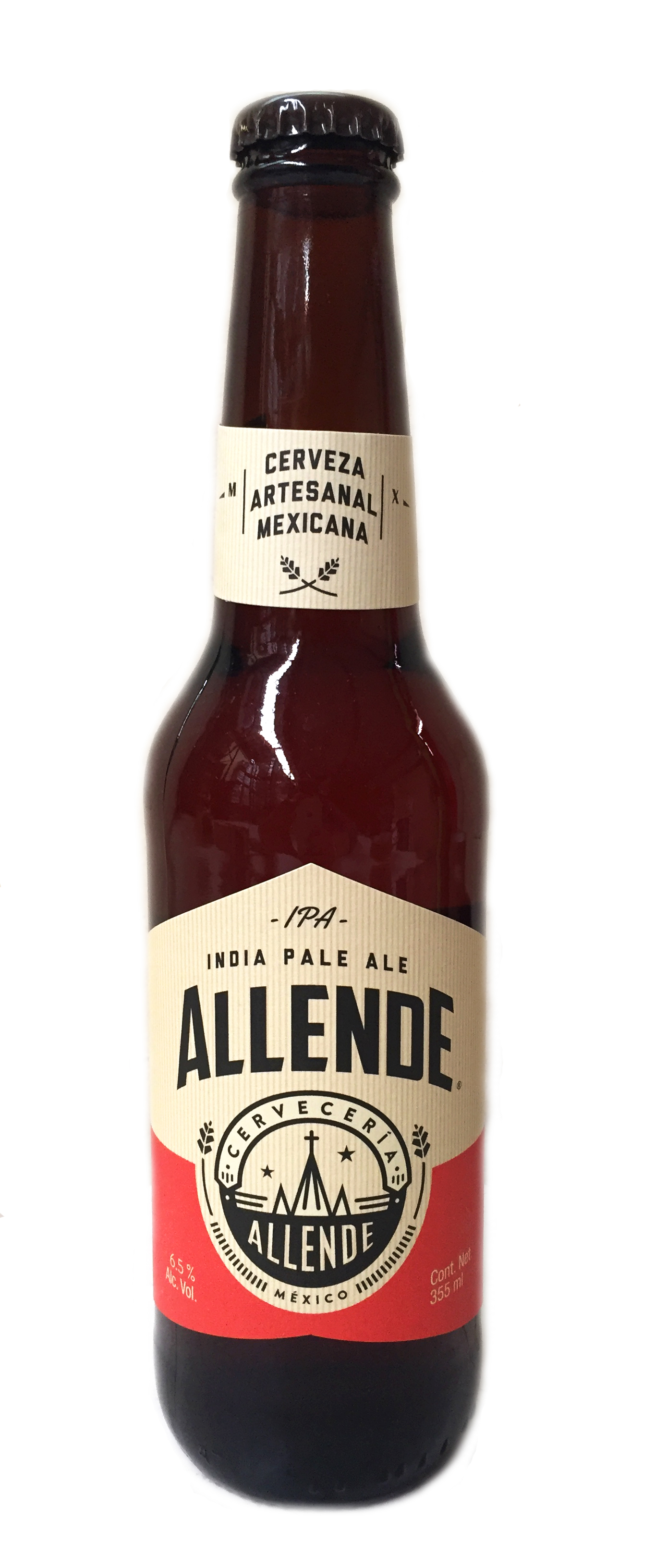 Allende IPA (Indian Pale). Cerveza artesanal mexicana. 355 ml Botella Cristal 6,5%