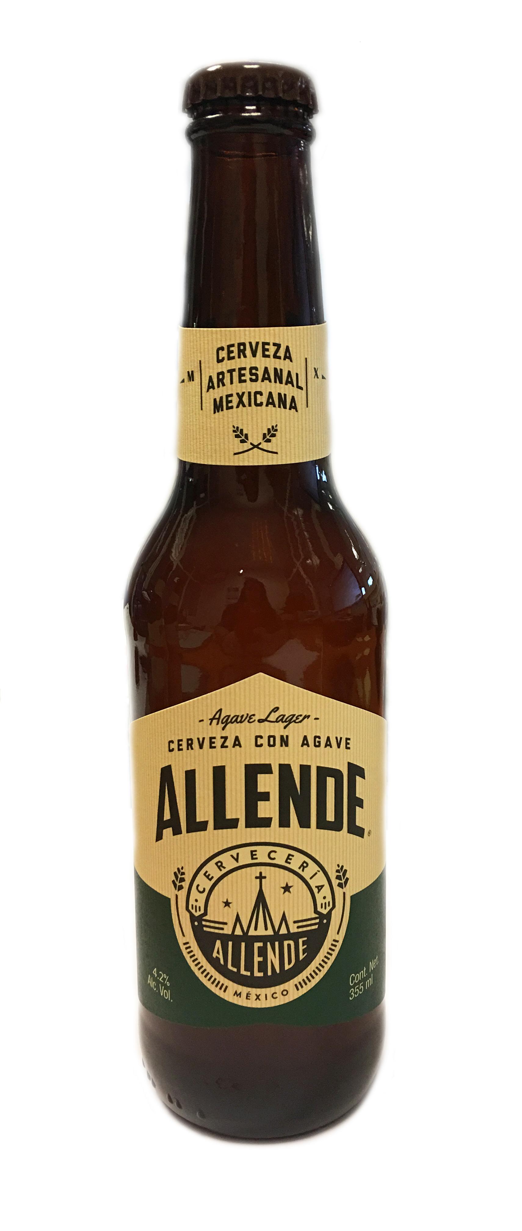 Allende Agave Lager. Cerveza artesanal mexicana. 355 ml Botella Cristal 4,2%
