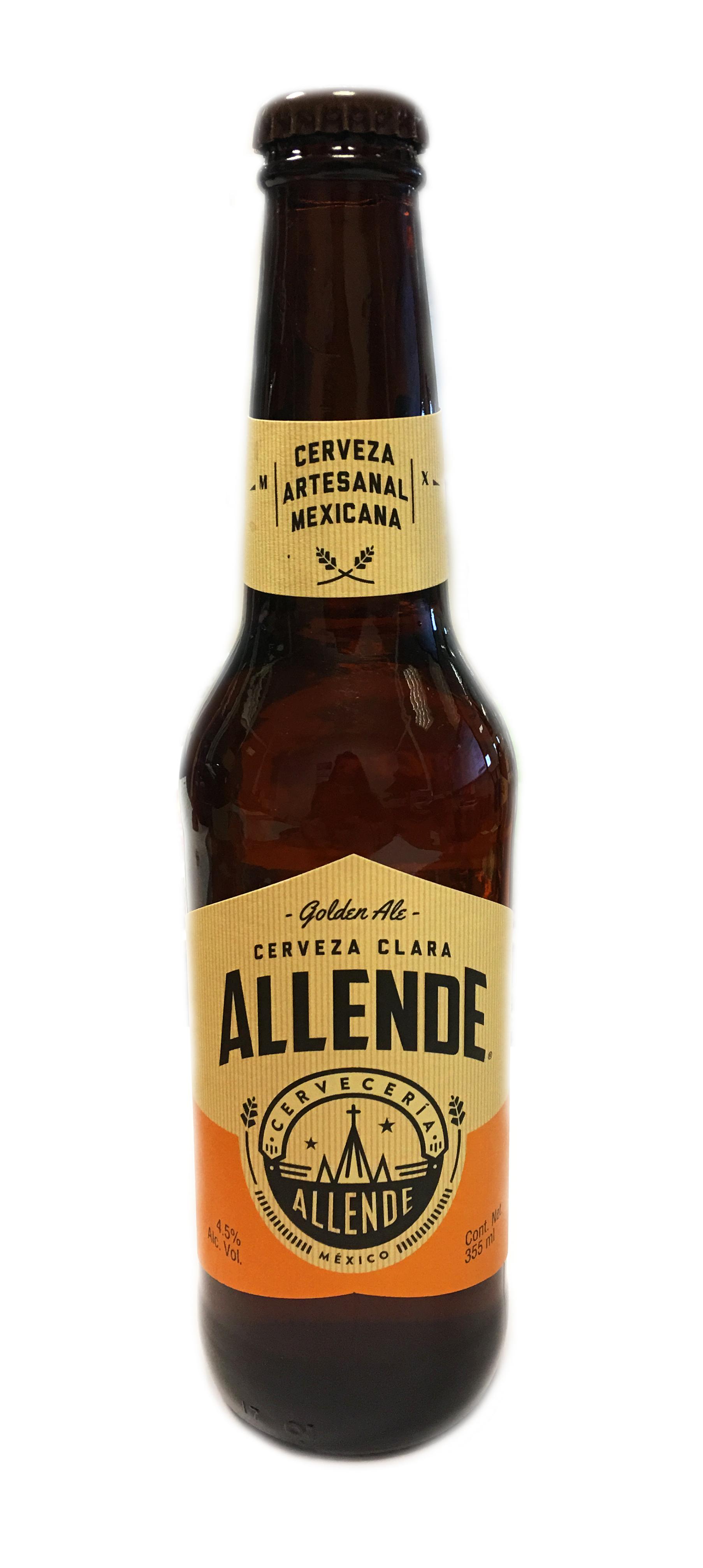 Allende Golden Ale. Cerveza artesanal mexicana. 355 ml Botella Cristal 4,5% Caja completa 24uds caja 4,5%
