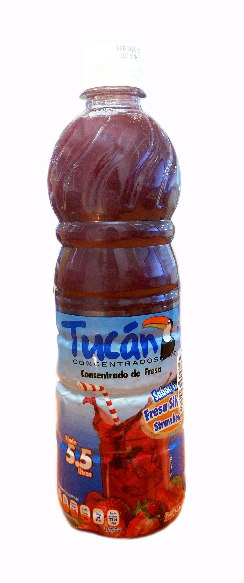 Concentrado de agua de Fresa Tucan 750ml Botella Plástico