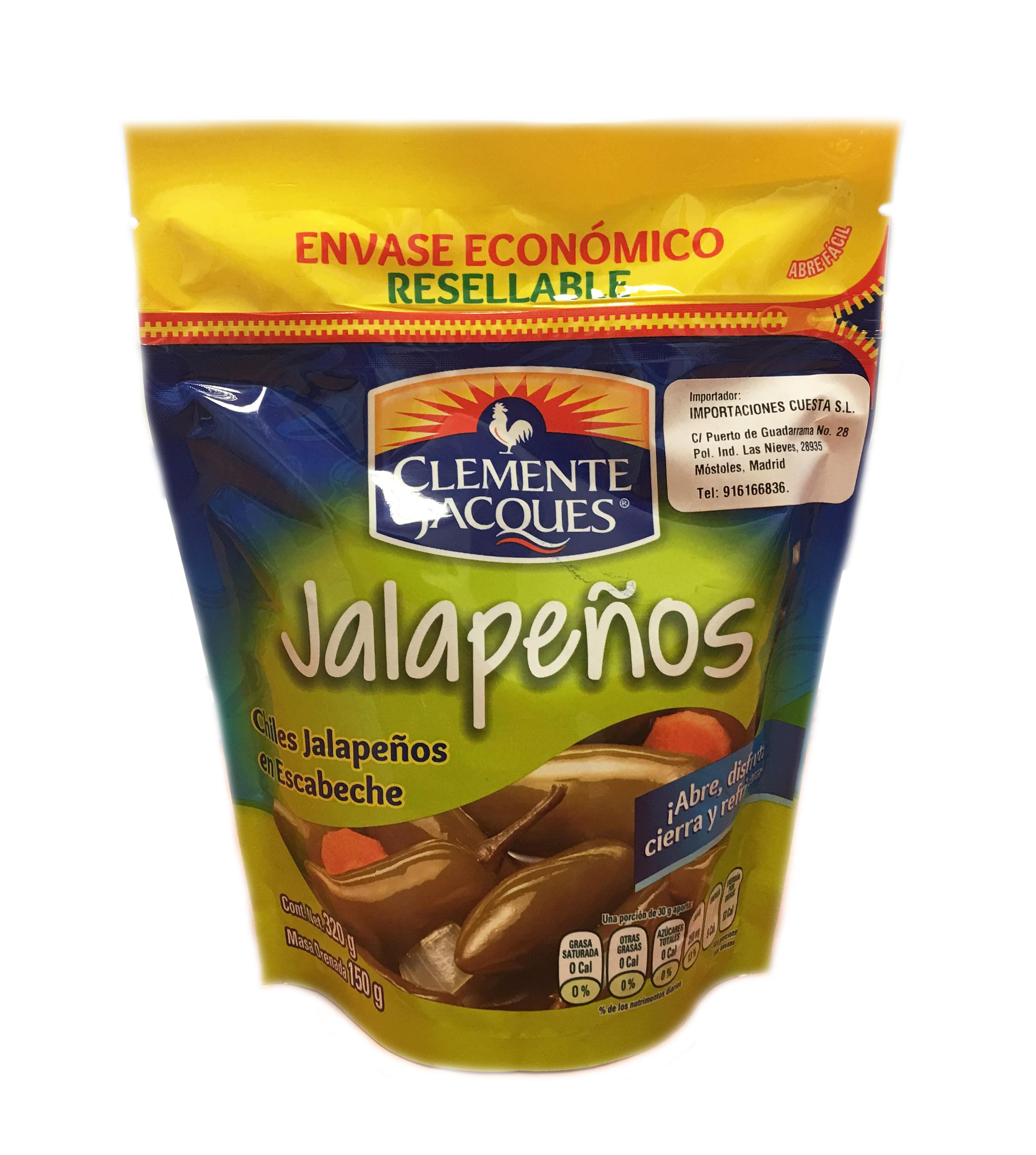 Jalapeños enteros bolsa Clemente Jacques 320gr Bolsa Plástico