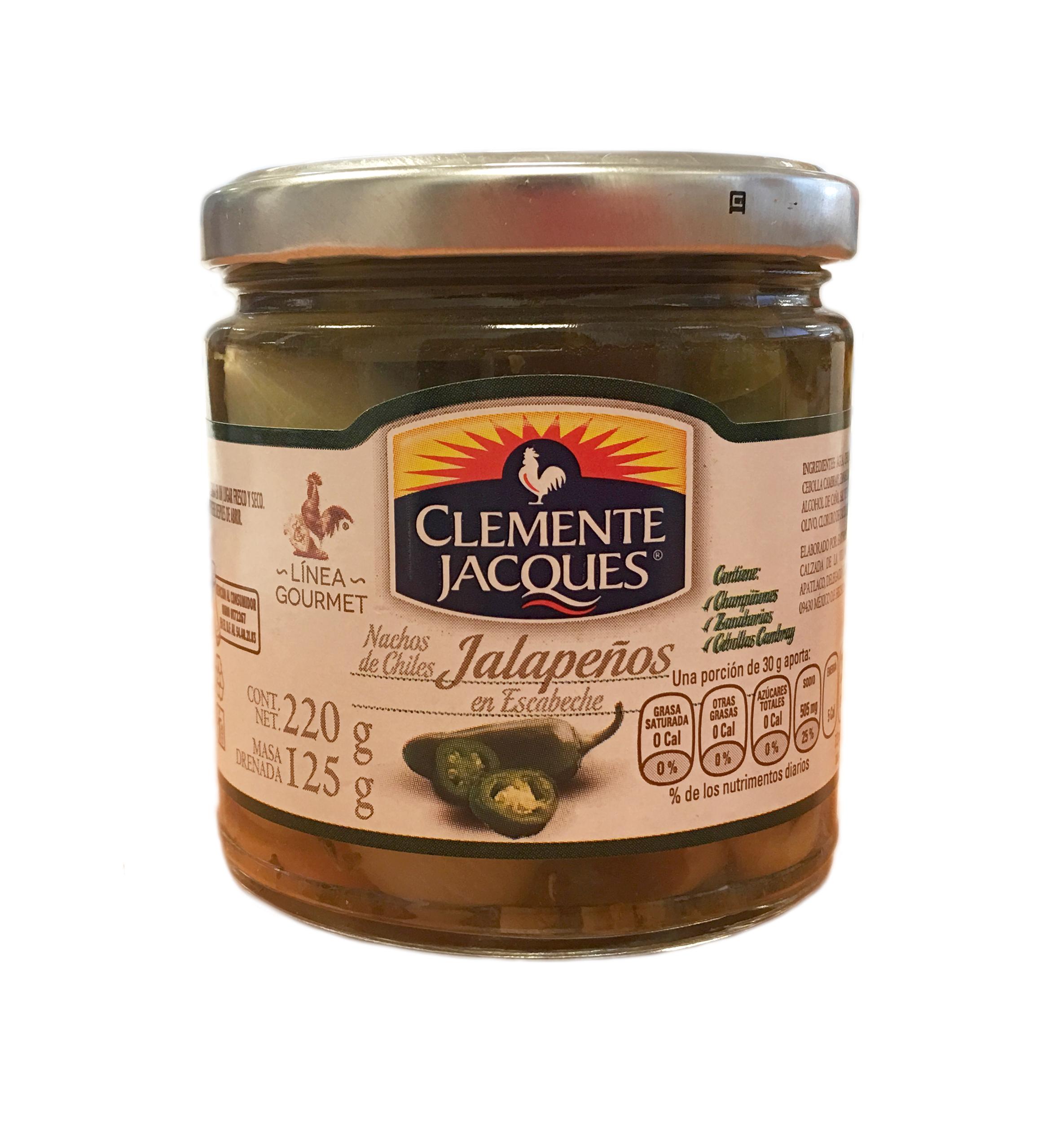 Jalapeños nachos Gourmet Clemente Jacques 220g frasco de cristal