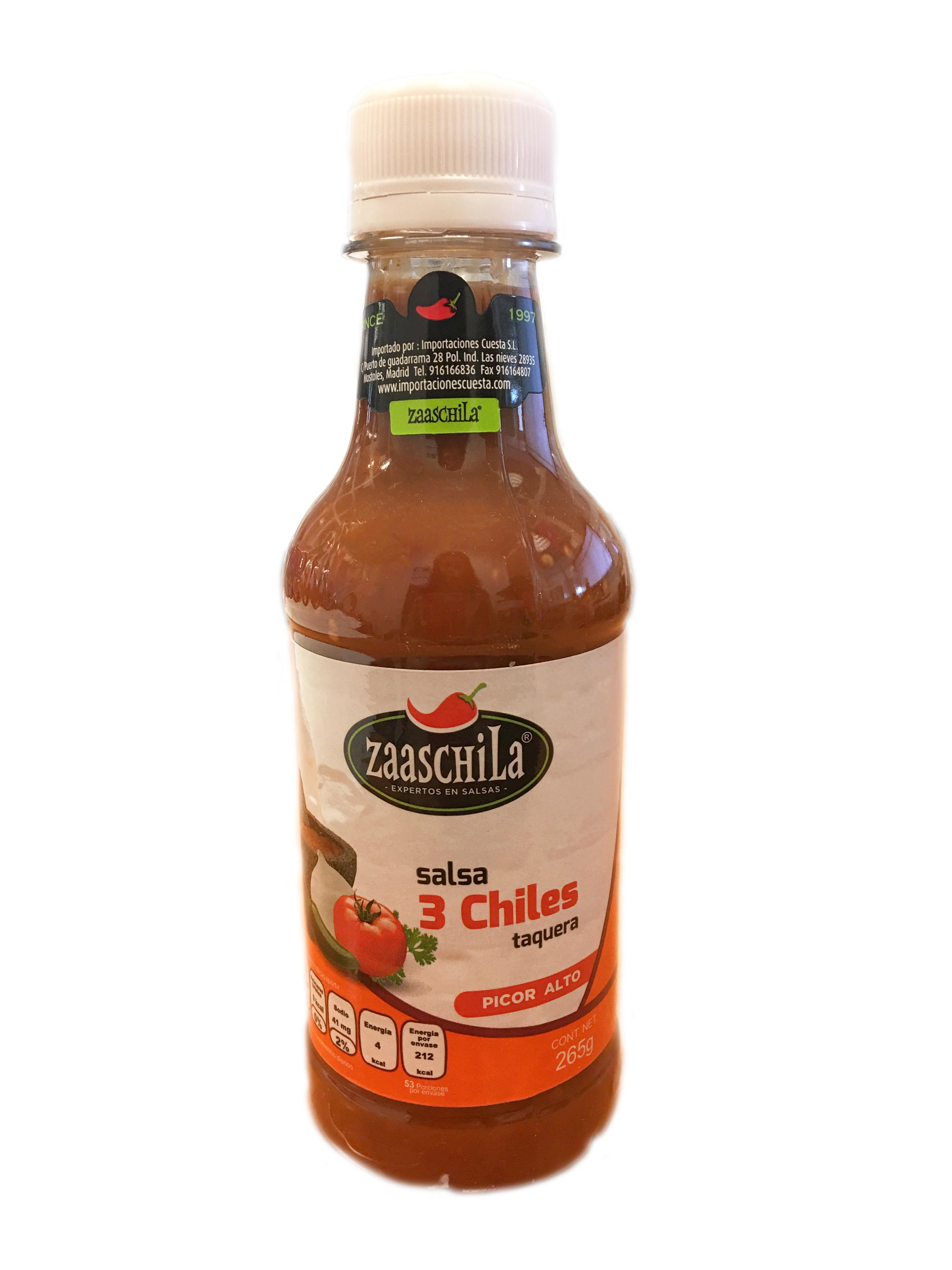 Salsa 3 chiles Zaaschila 265g botella de plástico