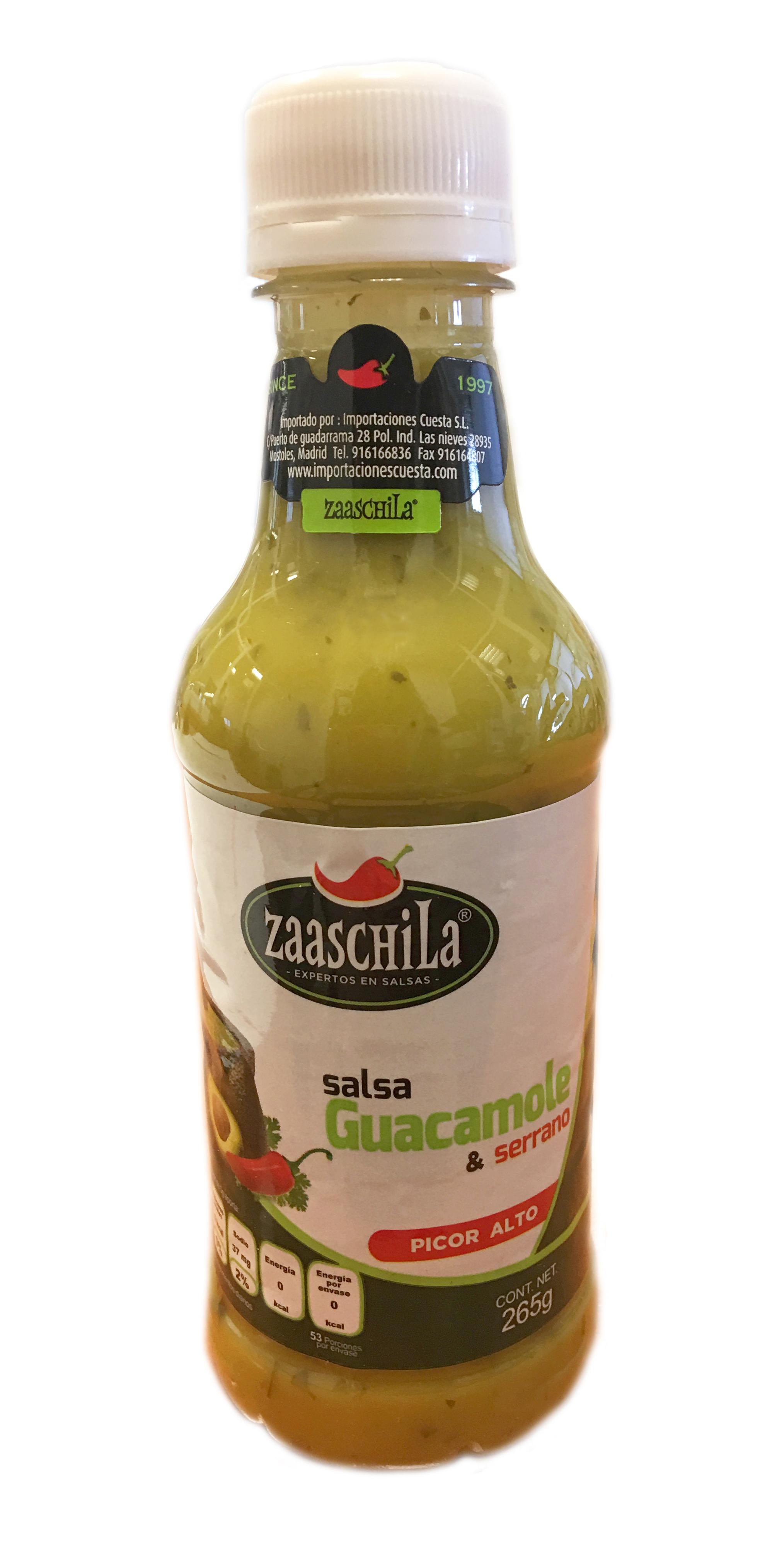 Salsa guacamole al natural Zaaschila 265g botella de plástico