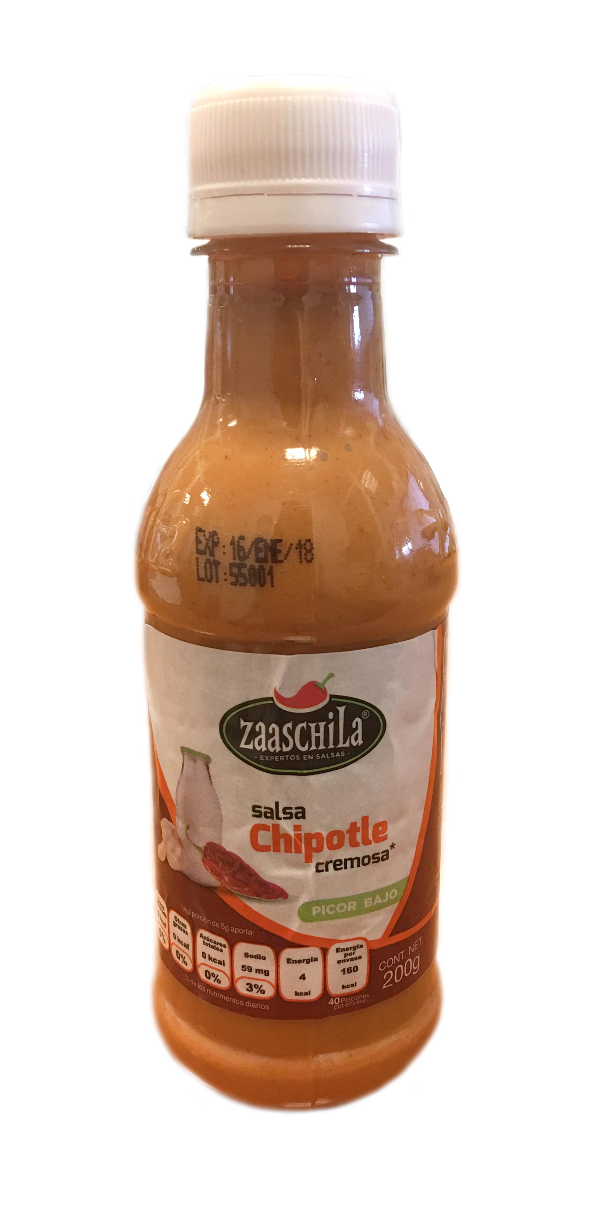 Salsa cremosa Chipotle Zaaschila 200g Botella Plástico