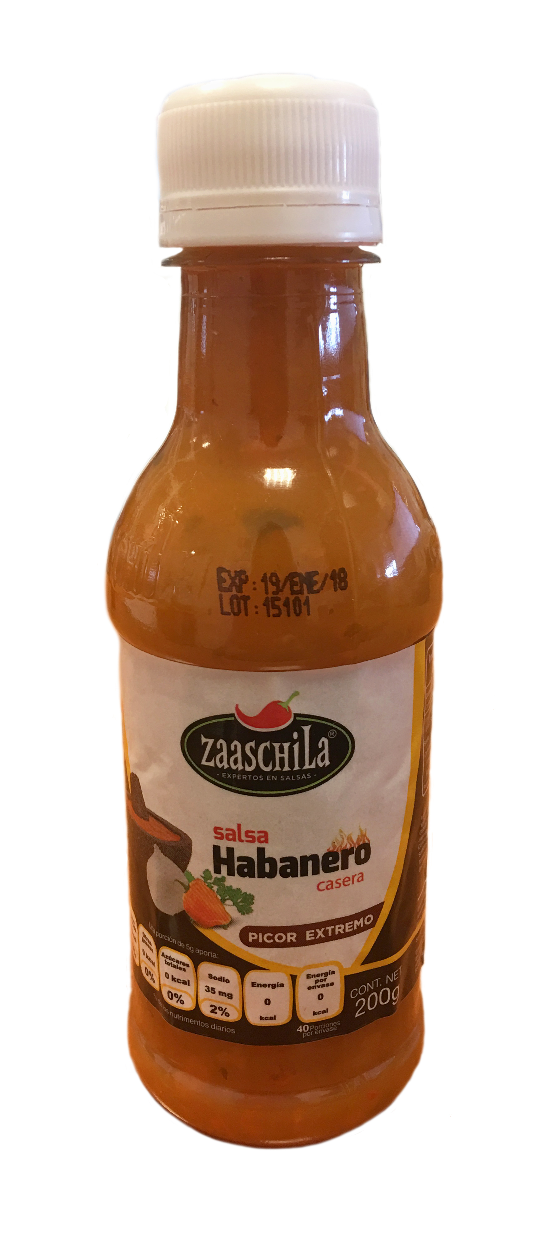 Salsa de Habanero cremosa Zaaschila 200g botella de plastico