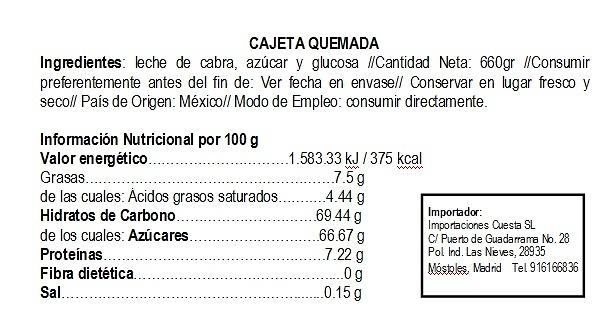 Cajeta Quemada, marca Real de Potosi