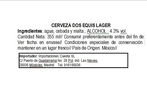 Cerveza Dos Equis Lager Especial