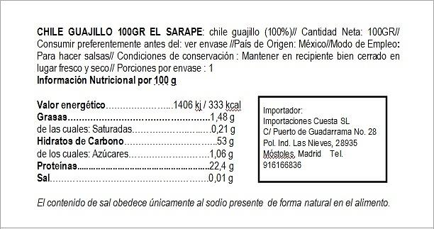 Chile Guajillo seco El Sarape