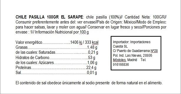 Chile Pasilla seco El Sarape