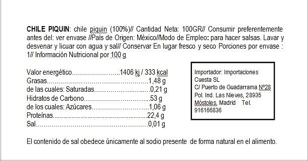 Chile Piquín seco 100g El Sarape