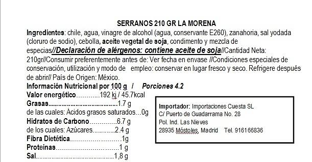 Chiles serranos 210 gr La Morena