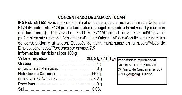 Concentrado de agua de jamaica Tucán