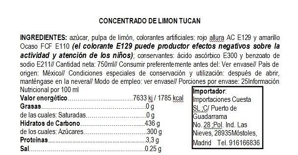 Concentrado de agua de limón Tucan