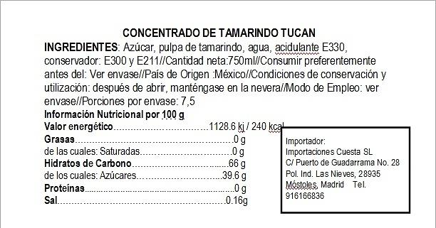 Concentrado de agua de tamarindo Tucán