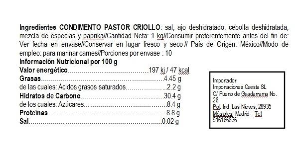 Condimento Pastor 1kg