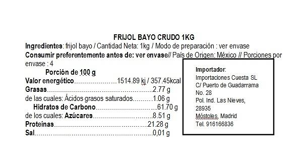 Frijol Bayo Crudo 1kg La Merced