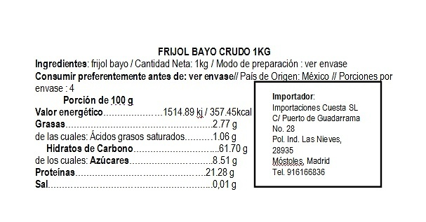 Frijol Bayo Crudo 1kg La Pasiega