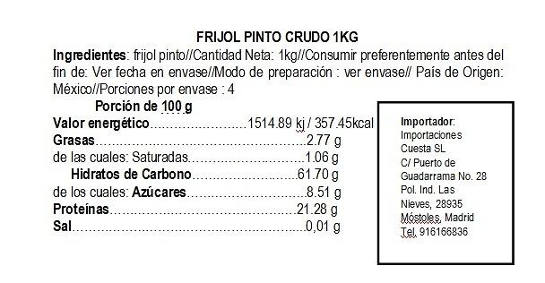 Frijol Pinto Crudo 1kg La Pasiega