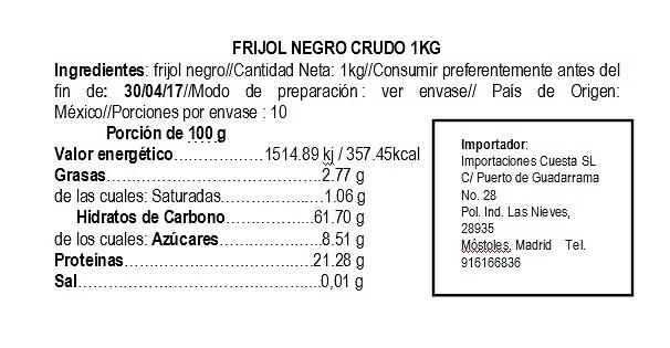 Frijol negro crudo 1kg La Pasiega