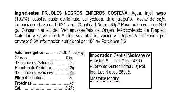 Frijol negro entero 560gr