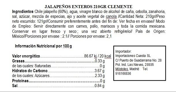 Jalapeños Enteros en escabeche Clemente Jacques