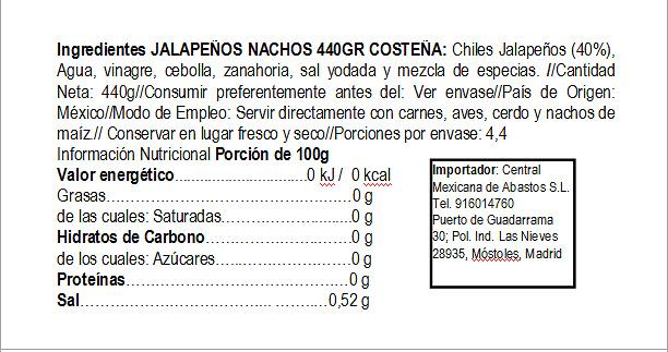 Jalapeños nachos 440g Costeña cristal