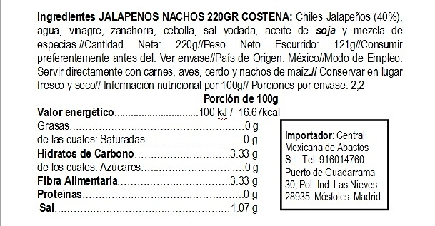 Jalapeños nachos Costeña 220g