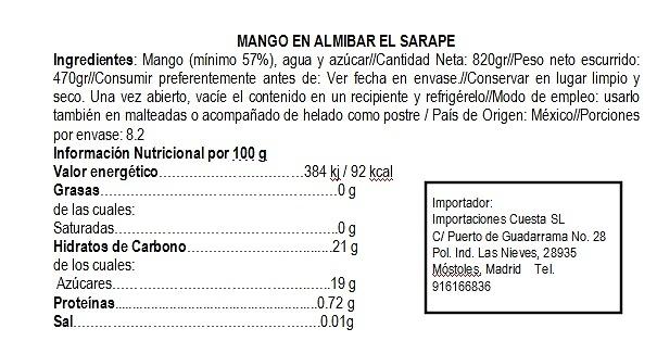 Mango en almibar (rebanadas)