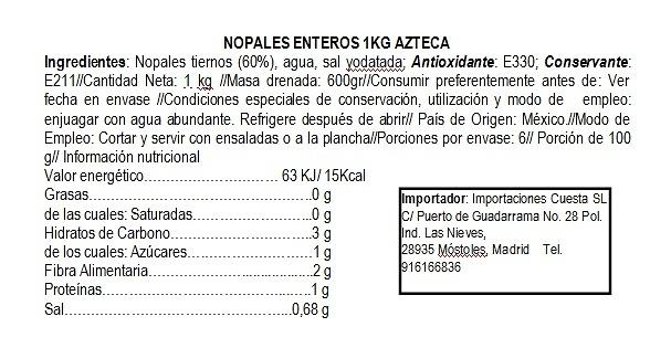 Nopales enteros en salmuera ( al natural ) 1kg Azteca (bolsa)
