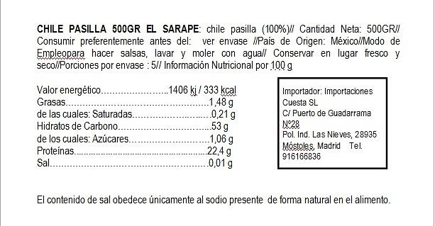 Pasilla seco El Sarape