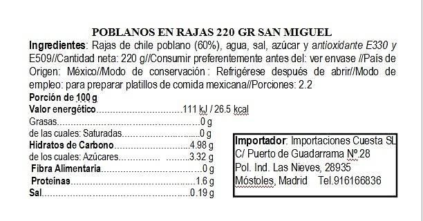 Rajas de chiles poblanos 200g San Miguel