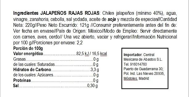 Rajas rojas de jalapeños 220g