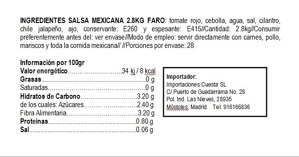Salsa Mexicana Roja 3kg