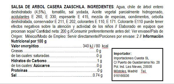 Salsa cremosa de Árbol Zaaschila