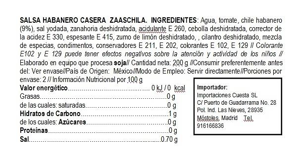 Salsa de Habanero cremosa Zaaschila