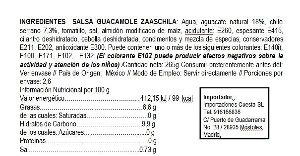 Salsa guacamole al natural Zaaschila