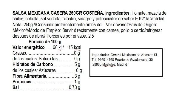 Salsa mexicana casera 250g cristal La Costeña