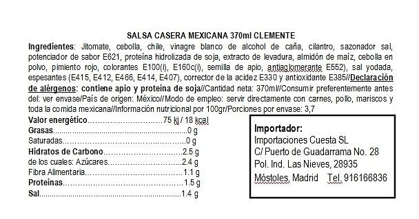 Salsa mexicana casera 370ml Clemente Jacques