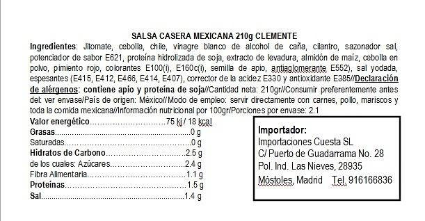 Salsa mexicana casera roja 210g Clemente Jacques