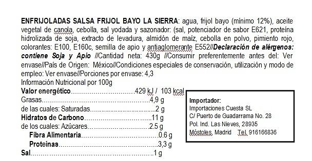 Salsa para enfrijoladas de frijol bayo