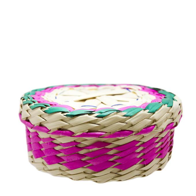Tortillero de palma de colores con tapa