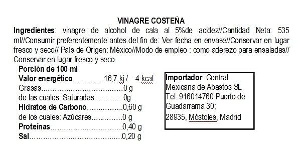 Vinagre Blanco de Alcohol de Caña