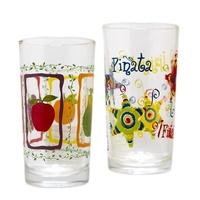 Vaso de cristal con dibujo de piñatas
